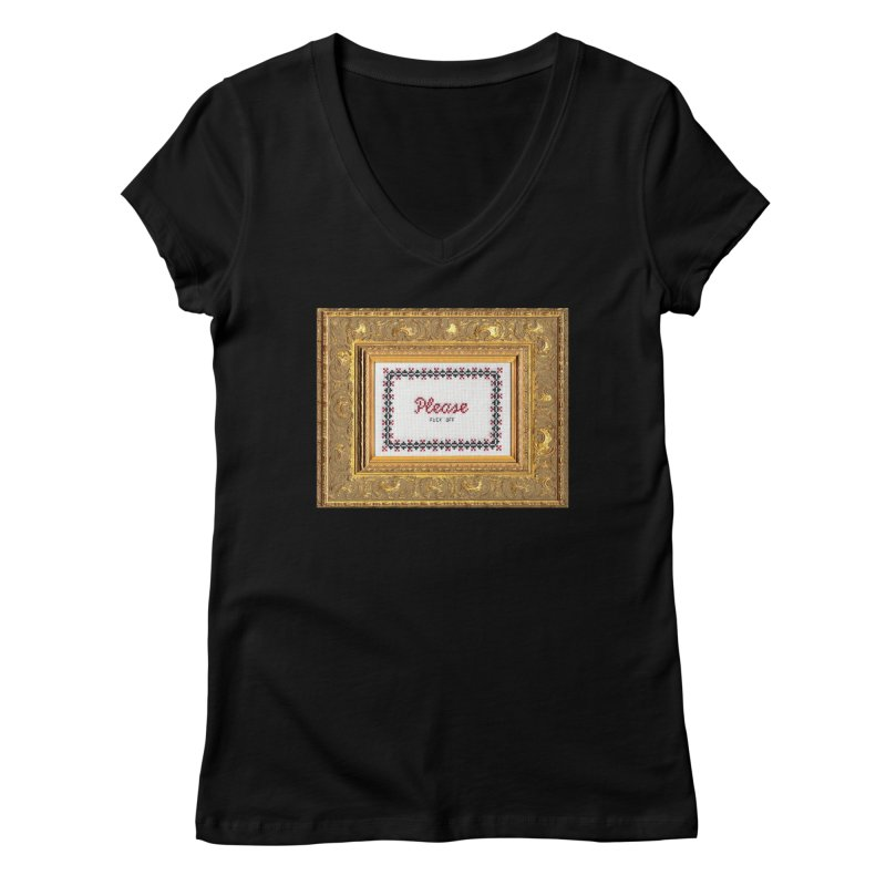 Please Fuck Off Women's Regular V-Neck by Subversive Cross Stitch