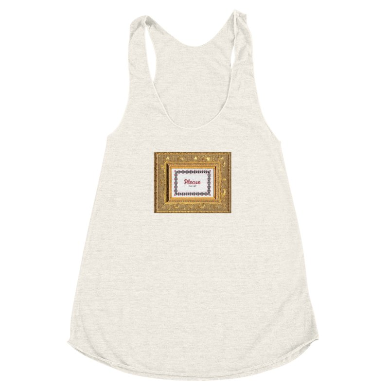 Please Fuck Off Women's Racerback Triblend Tank by subversivecrossstitch's Artist Shop