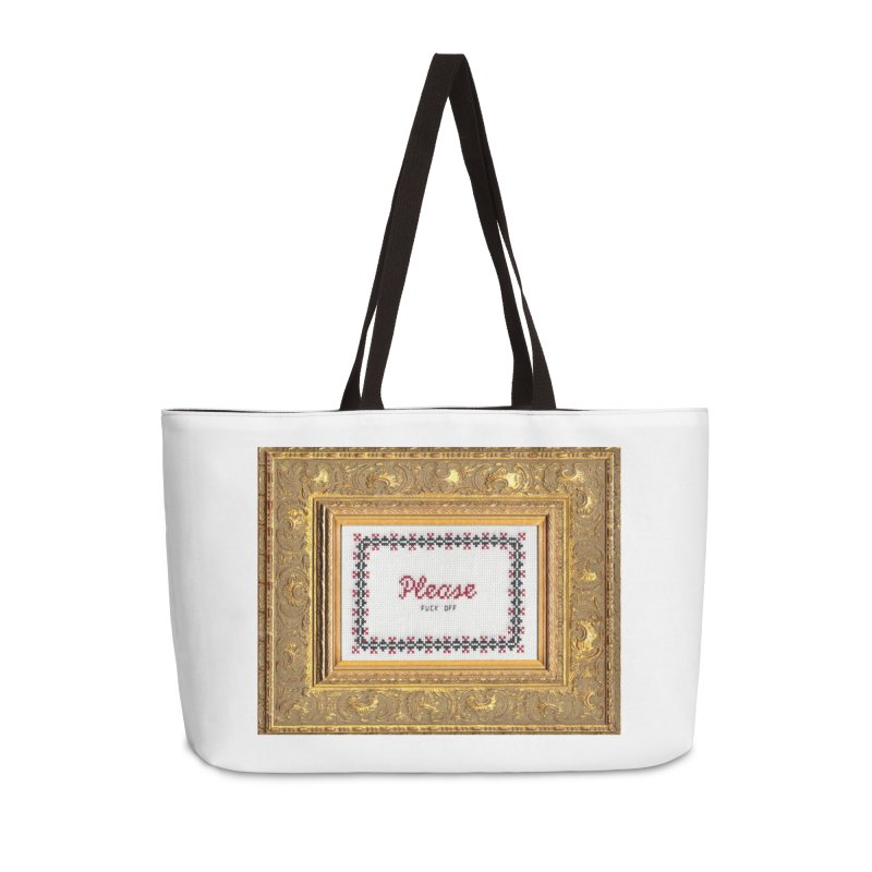 Please Fuck Off Accessories Weekender Bag Bag by Subversive Cross Stitch
