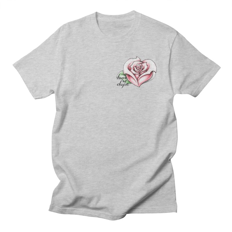 love is dope (wht/grey/red) in Women's Regular Unisex T-Shirt Heather Grey by summer seventy six