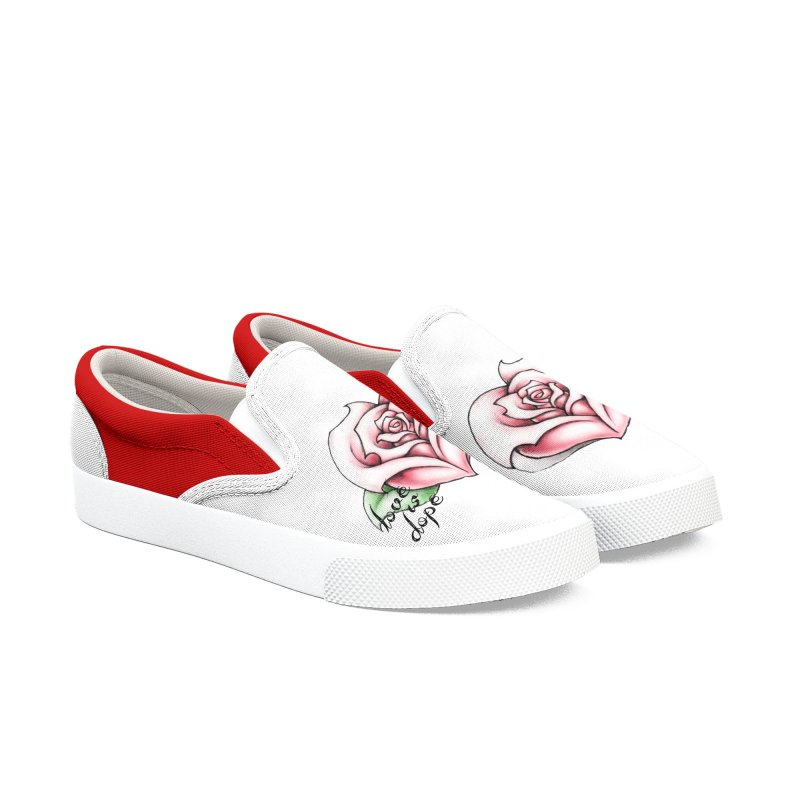 love is dope wht/red Men's Slip-On Shoes by summer seventy six