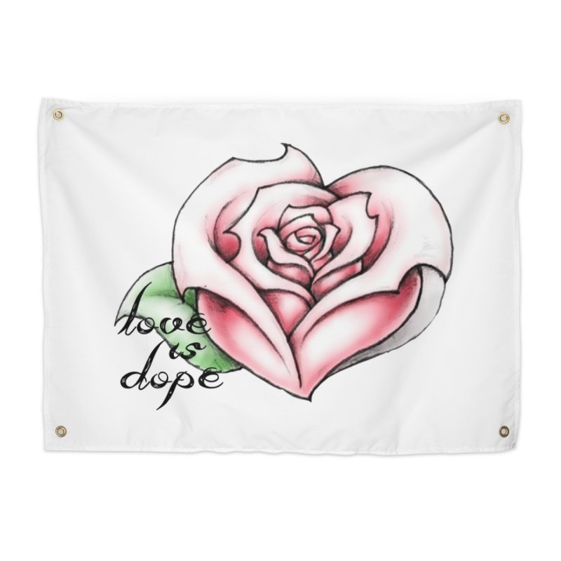 love is dope wht/red Home Tapestry by summer seventy six