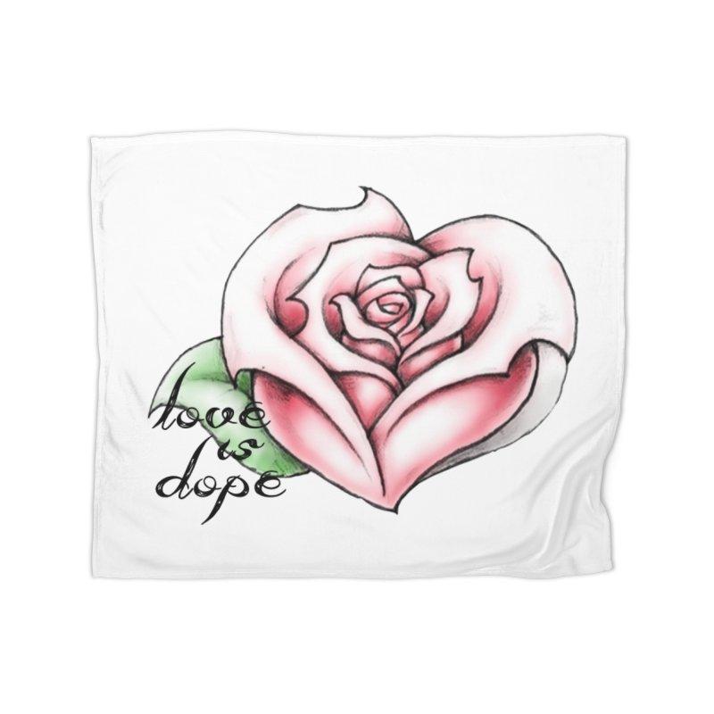 love is dope wht/red Home Fleece Blanket Blanket by summer seventy six