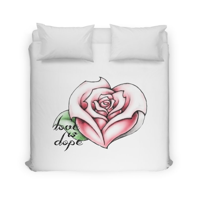 love is dope wht/red Home Duvet by summer seventy six