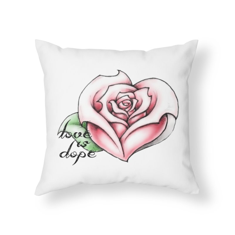 love is dope wht/red Home Throw Pillow by summer seventy six