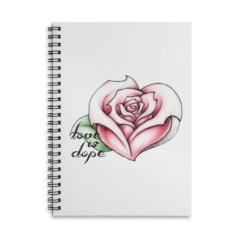 love is dope wht/red Accessories Lined Spiral Notebook by summer seventy six
