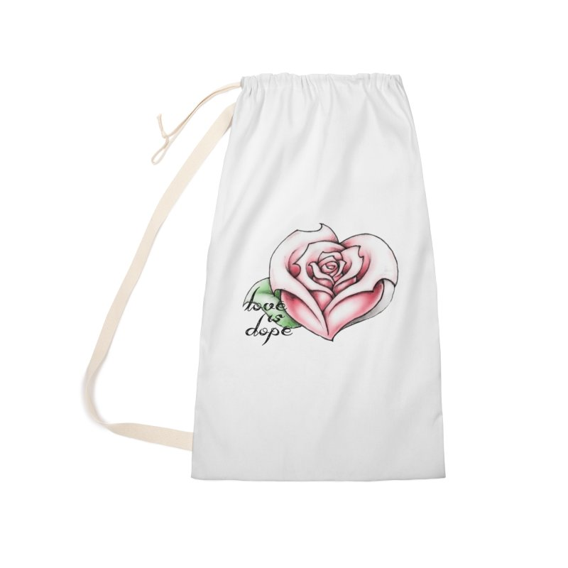 love is dope wht/red Accessories Laundry Bag Bag by summer seventy six