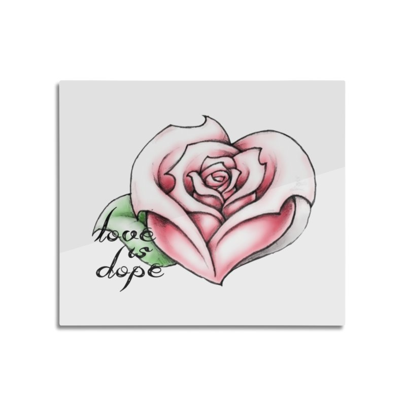 love is dope wht/red Home Mounted Aluminum Print by summer seventy six