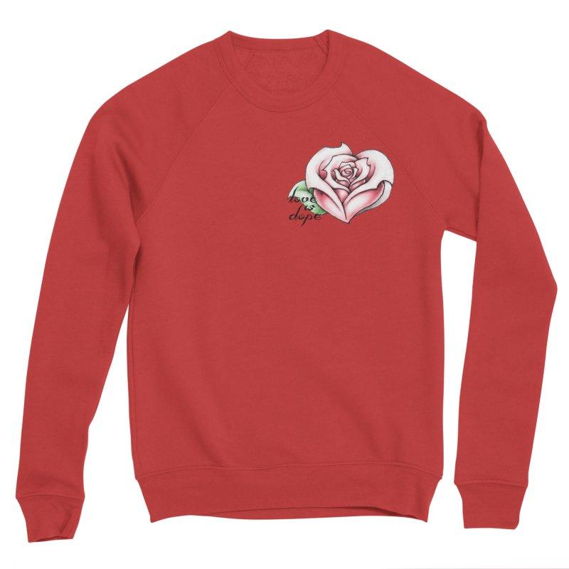 love is dope wht/red Men's Sponge Fleece Sweatshirt by summer seventy six