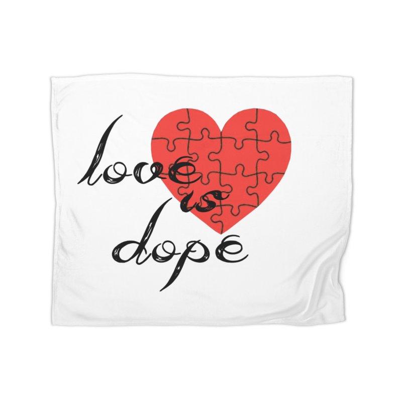 love is dope (wht/blk/red) Home Fleece Blanket Blanket by summer seventy six