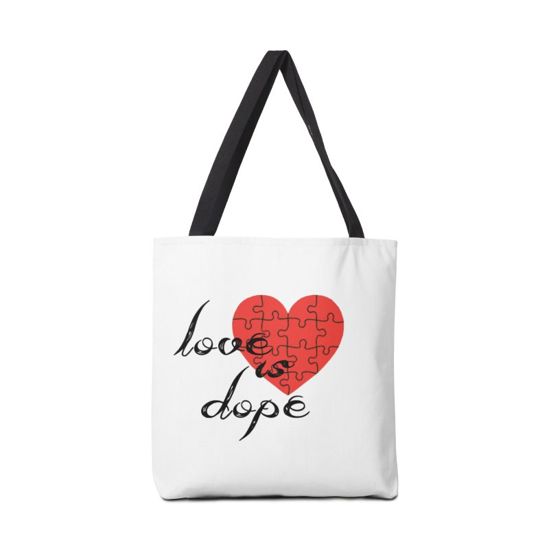 love is dope (wht/blk/red) Accessories Tote Bag Bag by summer seventy six