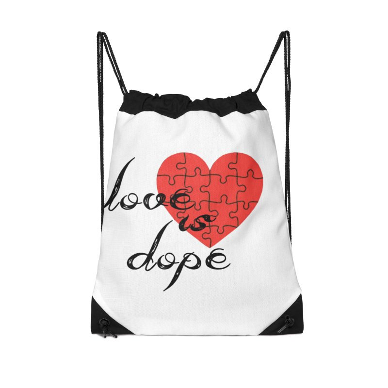 love is dope (wht/blk/red) Accessories Drawstring Bag Bag by summer seventy six