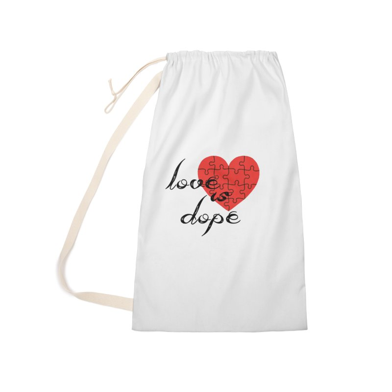 love is dope (wht/blk/red) Accessories Laundry Bag Bag by summer seventy six