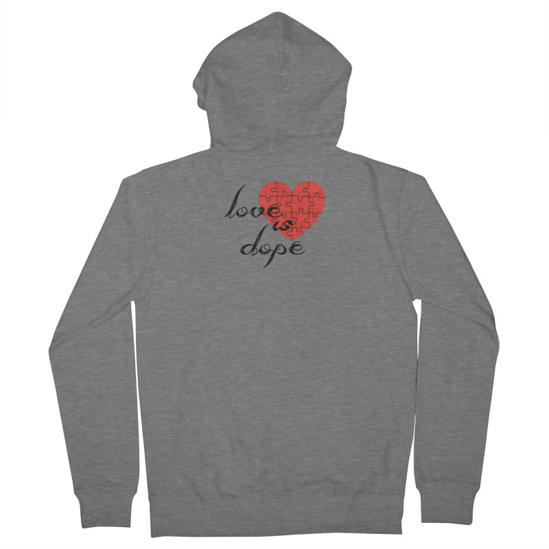 love is dope (wht/blk/red) Women's French Terry Zip-Up Hoody by summer seventy six