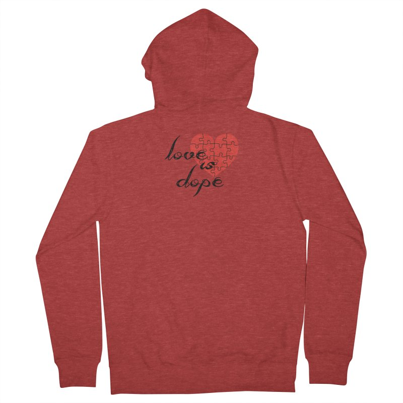 love is dope (wht/blk/red) Men's French Terry Zip-Up Hoody by summer seventy six