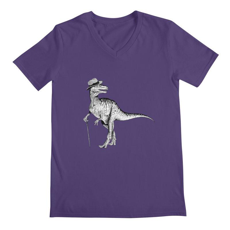Stylin' T Rex Men's V-Neck by sundaydrivedesigns's Artist Shop