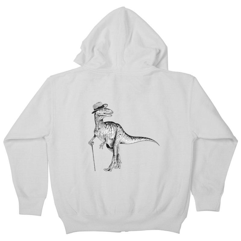 Stylin' T Rex Kids Zip-Up Hoody by sundaydrivedesigns's Artist Shop