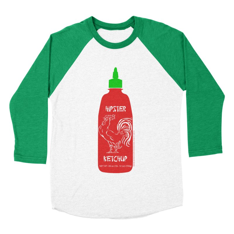 Hipster Ketchup Men's Baseball Triblend Longsleeve T-Shirt by sundaydrivedesigns's Artist Shop