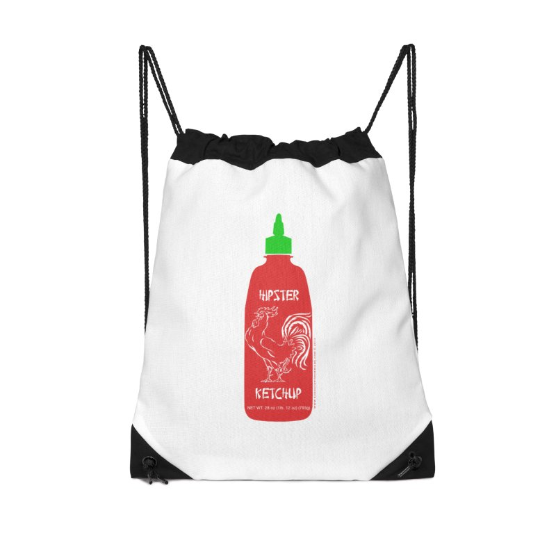Hipster Ketchup Accessories Drawstring Bag Bag by sundaydrivedesigns's Artist Shop