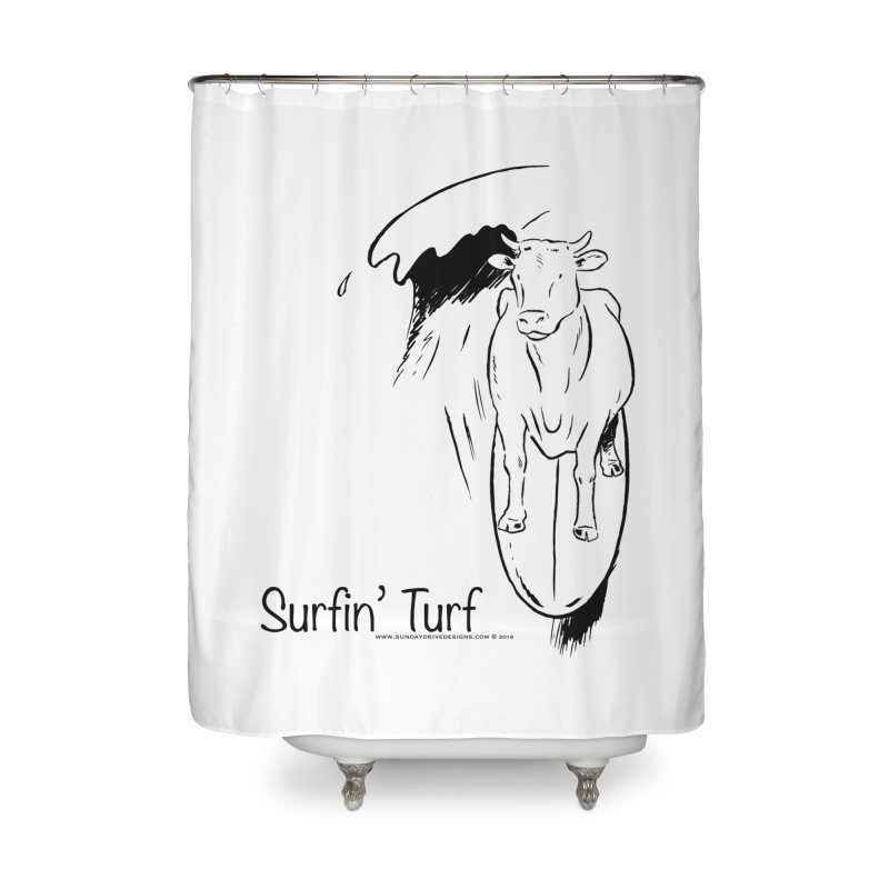 Surfin' Turf Home Shower Curtain by sundaydrivedesigns's Artist Shop