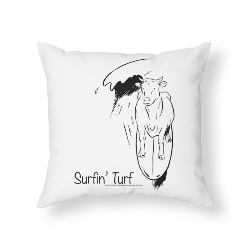 Surfin' Turf Home Throw Pillow by sundaydrivedesigns's Artist Shop
