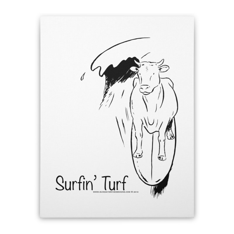 Surfin' Turf Home Stretched Canvas by sundaydrivedesigns's Artist Shop