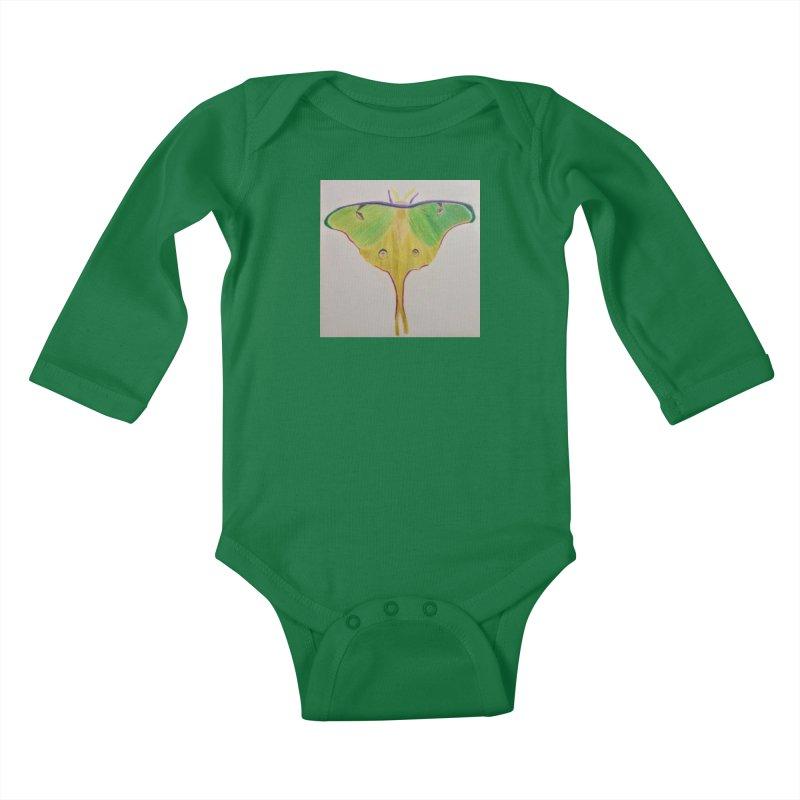 Luna Moth Kids Baby Longsleeve Bodysuit by Whimsical Wildlife Wares