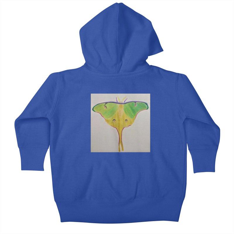 Luna Moth Kids Baby Zip-Up Hoody by Whimsical Wildlife Wares
