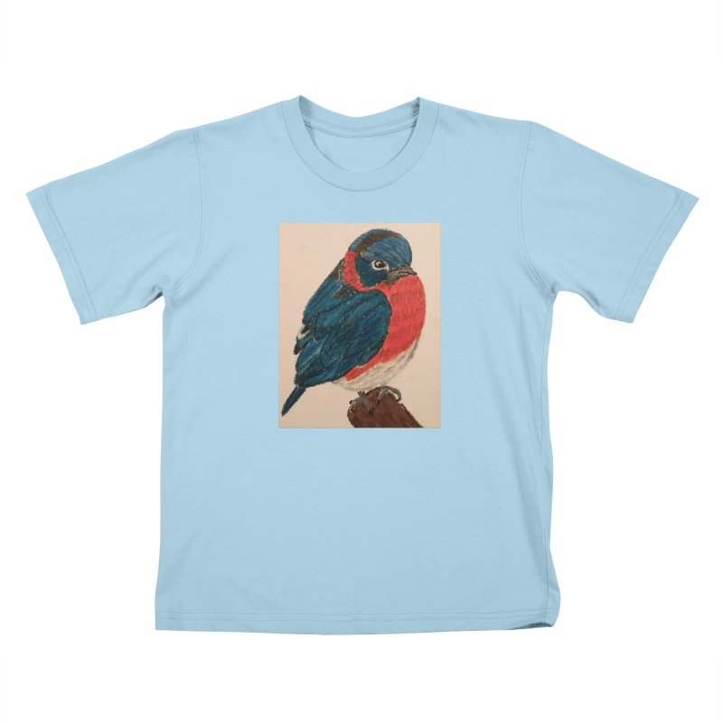 Grumpy Bluebird Kids T-shirt by Whimsical Wildlife Wares