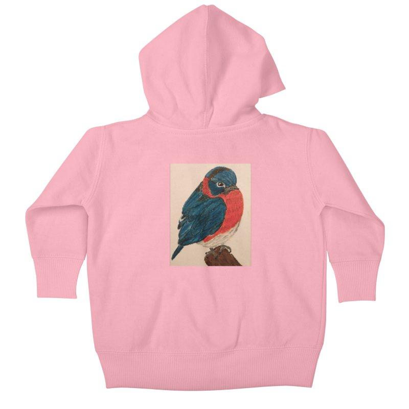 Grumpy Bluebird Kids Baby Zip-Up Hoody by Whimsical Wildlife Wares