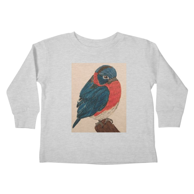 Grumpy Bluebird Kids Toddler Longsleeve T-Shirt by Whimsical Wildlife Wares
