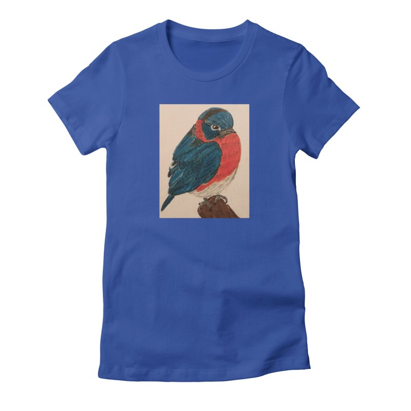 Grumpy Bluebird Women's Fitted T-Shirt by Whimsical Wildlife Wares