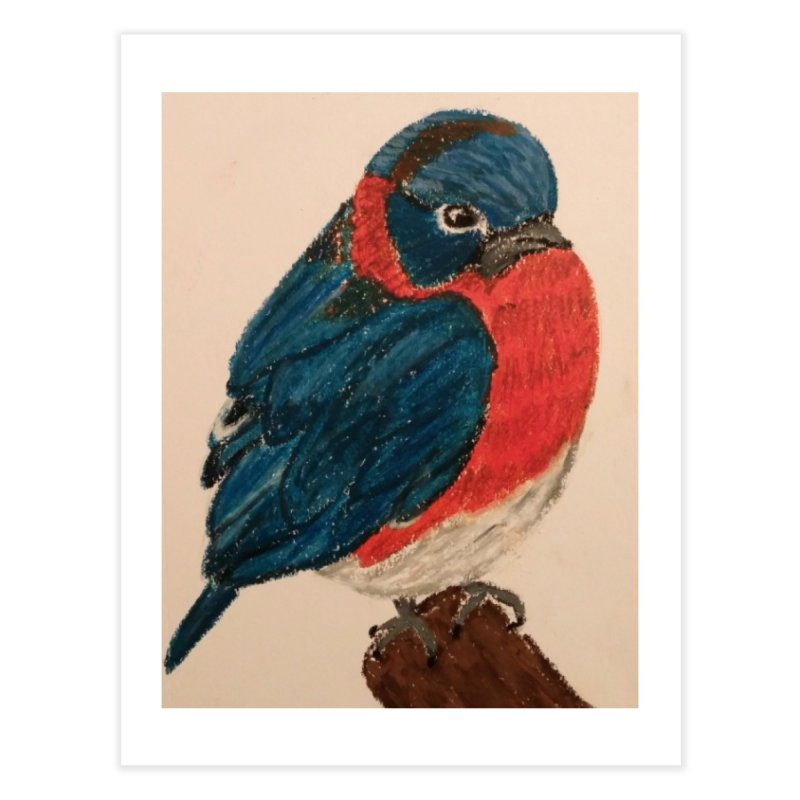 Grumpy Bluebird Home Fine Art Print by Whimsical Wildlife Wares