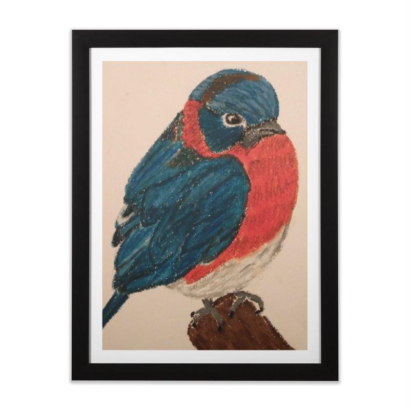 Grumpy Bluebird Home Framed Fine Art Print by Whimsical Wildlife Wares