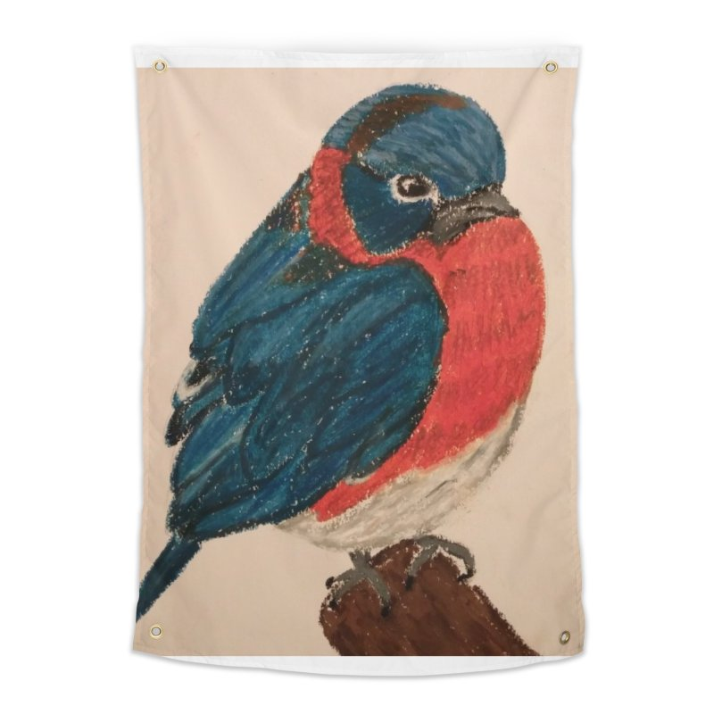 Grumpy Bluebird Home Tapestry by Whimsical Wildlife Wares