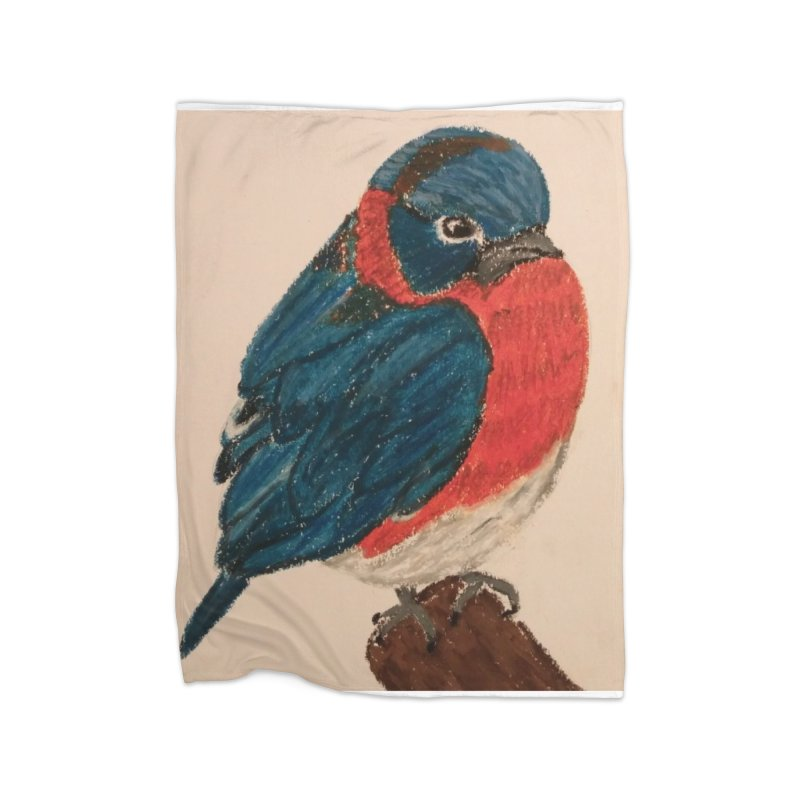 Grumpy Bluebird Home Blanket by Whimsical Wildlife Wares
