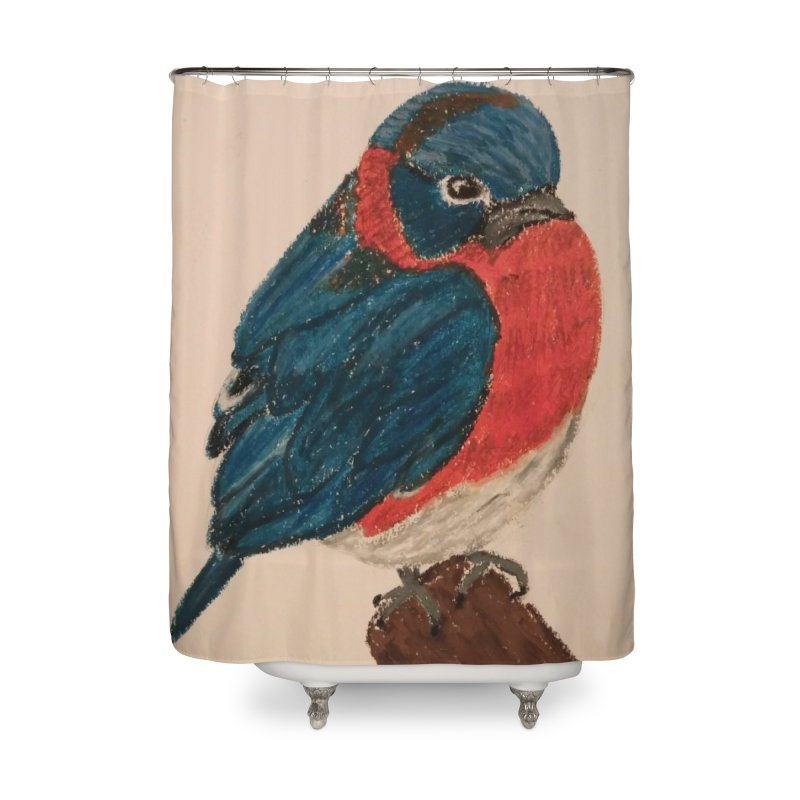 Grumpy Bluebird Home Shower Curtain by Whimsical Wildlife Wares