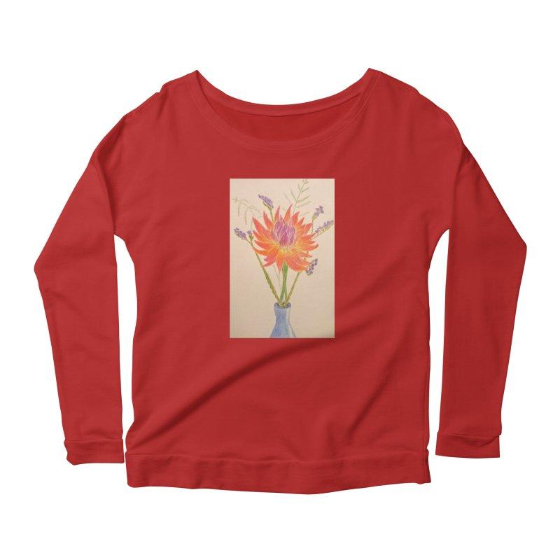 Flowers Women's Longsleeve Scoopneck  by Whimsical Wildlife Wares