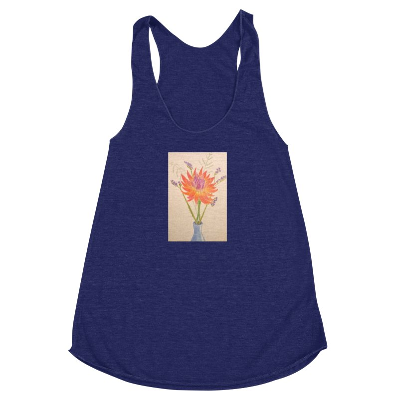 Flowers Women's Racerback Triblend Tank by Whimsical Wildlife Wares