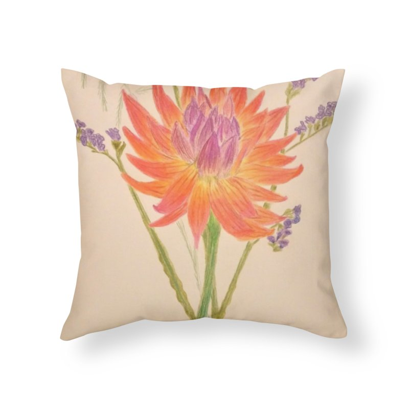 Flowers Home Throw Pillow by Whimsical Wildlife Wares