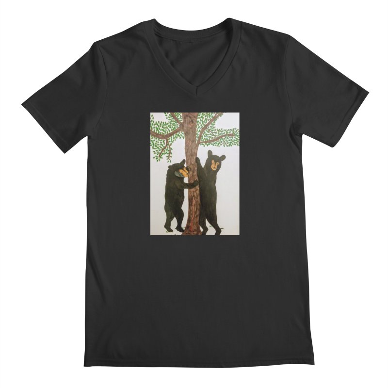 Black Bears Men's V-Neck by Whimsical Wildlife Wares