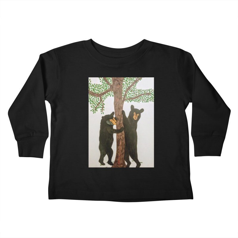 Black Bears Kids Toddler Longsleeve T-Shirt by Whimsical Wildlife Wares