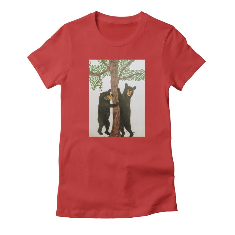 Black Bears Women's Fitted T-Shirt by Whimsical Wildlife Wares