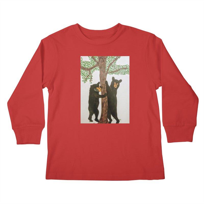 Black Bears Kids Longsleeve T-Shirt by Whimsical Wildlife Wares