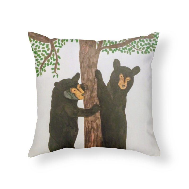 Black Bears Home Throw Pillow by Whimsical Wildlife Wares