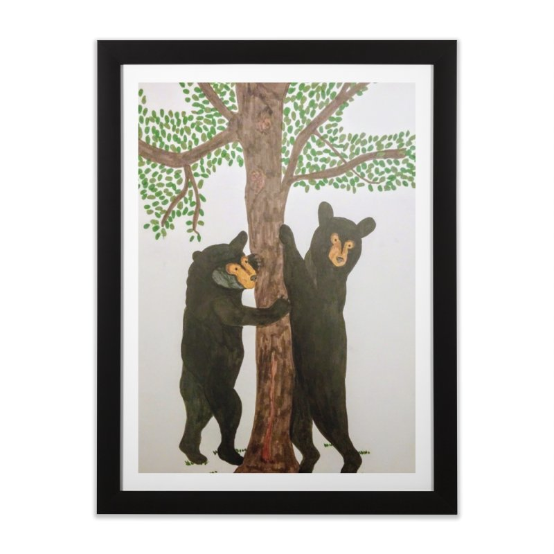 Black Bears Home Framed Fine Art Print by Whimsical Wildlife Wares