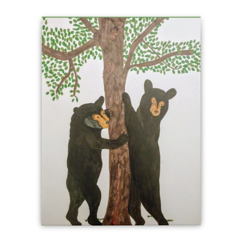 Black Bears Home Stretched Canvas by Whimsical Wildlife Wares