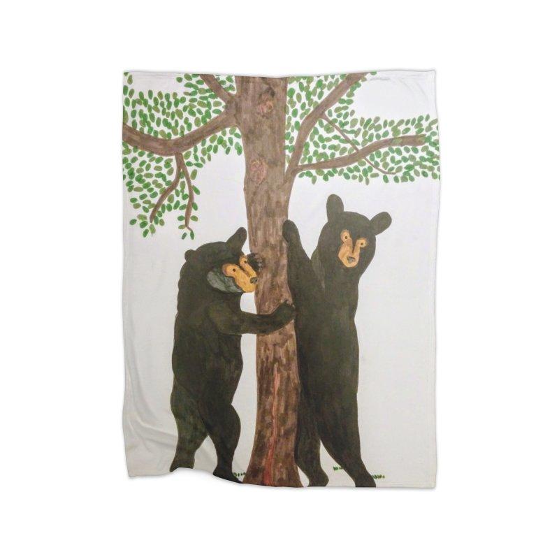 Black Bears Home Blanket by Whimsical Wildlife Wares