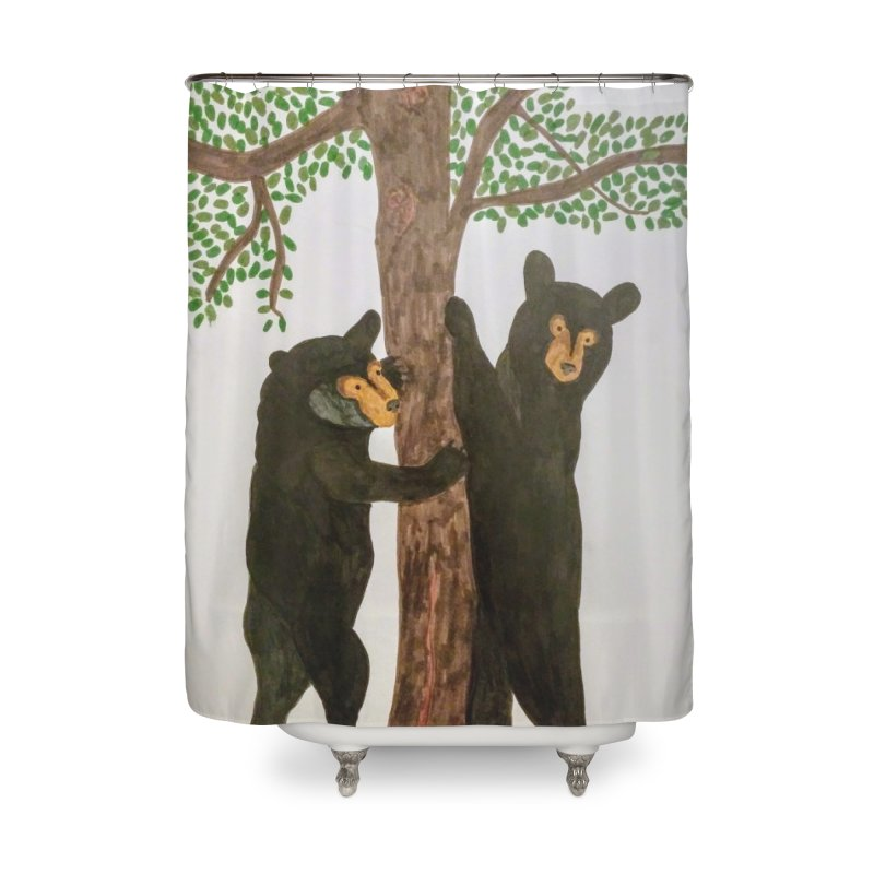 Black Bears Home Shower Curtain by Whimsical Wildlife Wares
