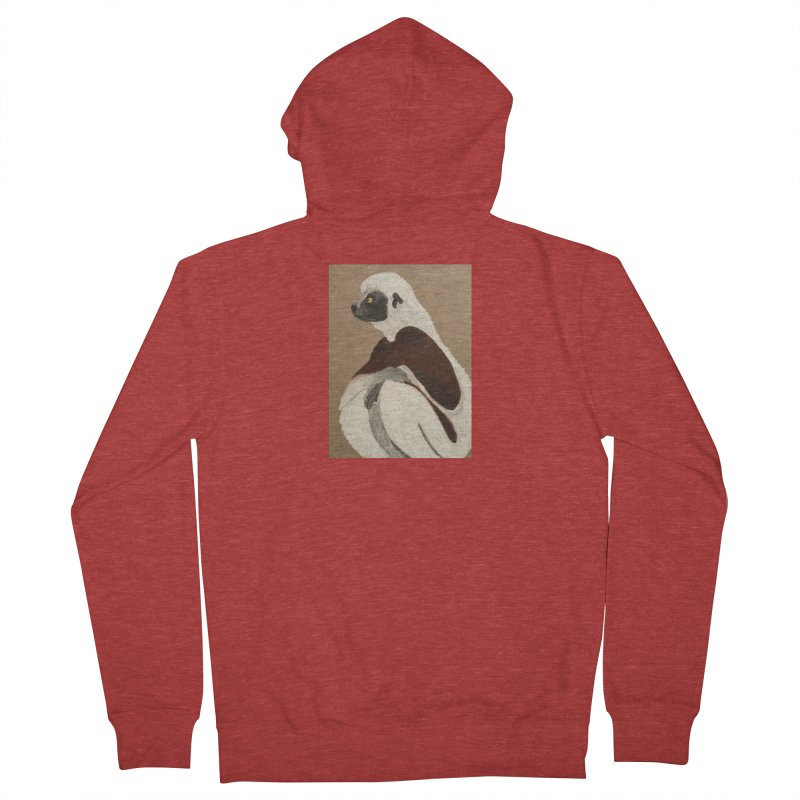 Pensive Sifaka Men's Zip-Up Hoody by Whimsical Wildlife Wares